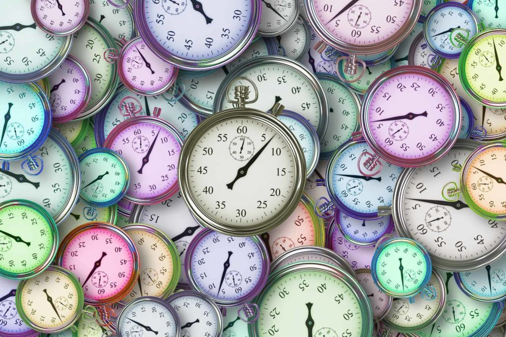 multicoloured clock faces