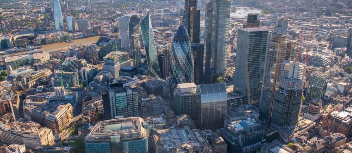 city of london aerial view of skyscrapers